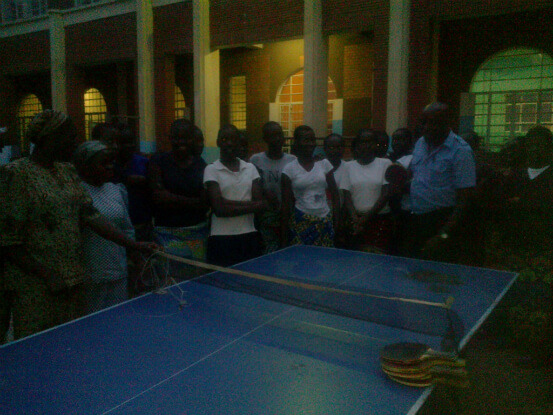 Donated table tennis set for girls hostel in Commune of Panda (Likasi)